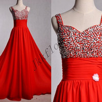 Long Red Beaded Sequined Prom Dresses,Spaghetti Straps Prom Dresses,Red Evening Dresses,Chiffon Bridesmaid Dresses,Homecoming Dresses