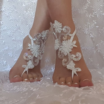Beaded wedding sandal bridal shoe beach wedding ivory