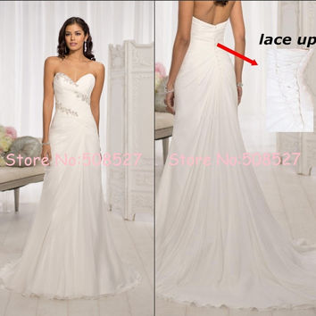 Stock Vestido De Novia White/Ivory Strapless Beach Chiffon Wedding Dress Crystal Sequin Beading Bridal Gown Robe De Mariage