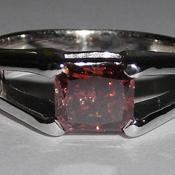 1.25 carat red diamond solitaire ring white gold 14K