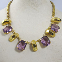 Purple Amethyst Glass Dangle Necklace Bib, Emerald Cut Open Back Faceted Glass Stones, Gold Large Box Link Chain, 17 inches 3/4 inch dangles
