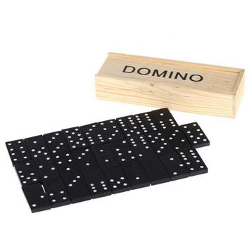 28 Pieces Fun Board Standard Domino Games Play Set with Wooden Box Educational Kids Toys for Children Adult Party Birthday Gifts