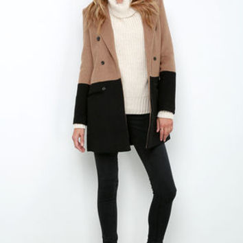 Picket Dreams Black and Brown Color Block Coat