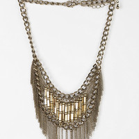 Beaded Fringe Statement Necklace - Urban Outfitters