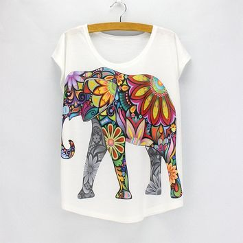 RealChicksRule™ Flower Power Elephant 3D Digital Printed T-Shirt