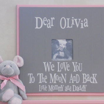 Personalized Baby Name Picture Frame, Custom Children Photo Frame, Personalized Frame Gift, Pink and Gray Baby Nursery