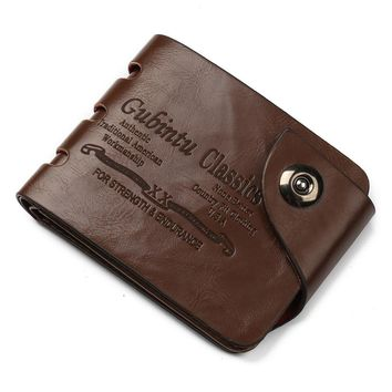 new Men Billfold Mini Leather Wallet