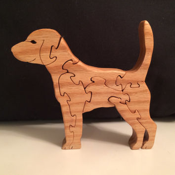 Wooden Dog Puzzle- Interlocking Puzzle Pieces- Freestanding - Waldorf Inspired - Handcrafted by Scroll Saw