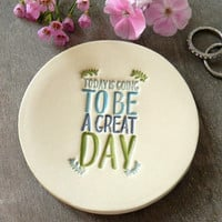 Good Day Ceramic Ring Dish, Positive Message, Ocean Color Pottery, Inspirational Plate, Thanksgiving Jewelry Dish Green Leaves Honour Plate