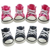 Hot Pink/Dark Blue Puppy Pet Dog Denim Shoes Sport Casual Anti-slip Boots Sneaker Shoes 4PCS