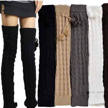 New 2014 Winter Knitted Leg Warmers for Women Fashion Thick Gaiters Warm Boot SocksTwo Sizes 6 Solid Natural Colors = 1958014276