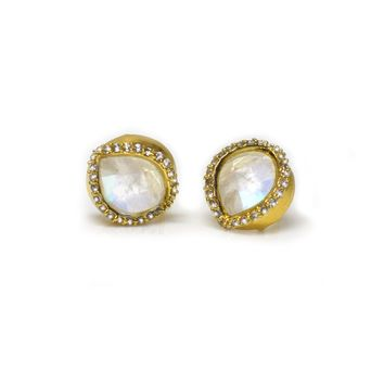 Rainbow Moonstone and Diamond InBloom Studs