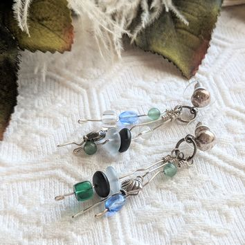 One of a Kind Artisan Crafted Unique Sterling Silver Czech Glass Post Dangle Earrings