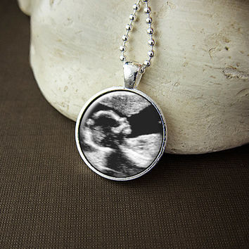 Custom Sonogram Necklace, Ultrasound - Your Baby Boy or Girl First Picture On A Glass Pendant Necklace