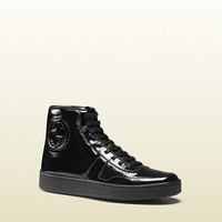 soft patent leather high-top sneaker 338922AB8F01000