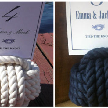 10 Nautical Wedding Table Numbers - 5 navy and 5 off white cotton knots - Nautical Wedding Decor
