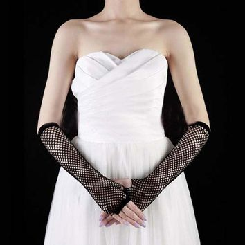 1Pair Black Punk Goth Lady Dance Costume Lace Fingerless Mesh Fishnet Gloves