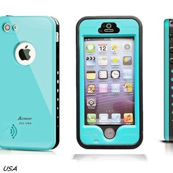 Eagle Case Line Waterproof Armor Case with Finger Print Function for Apple iPhone 5S - Aqua Blue