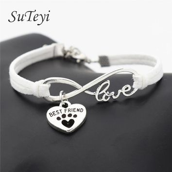 SUTEYI Fashion Women Leather Bracelet Antique Silver Plated Pets Dogs Lover Cat Animal Bear Paw Charms Pendant Love Bracelets