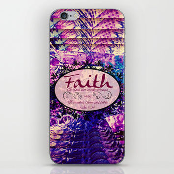 FAITH Colorful Purple Christian Luke Bible Verse Inspiration Believe Floral Modern Typography Art iPhone & iPod Skin by The Faithful Canvas