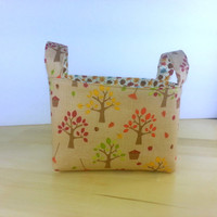 Small Fabric Storage Bin Basket ~ Happy Harvest Trees by Riley Blake