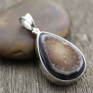 Geode in Sterling Silver Pendant (D080)