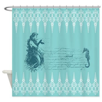 Shop mermaid shower curtain bath on wanelo for Mermaid bathroom decor vintage