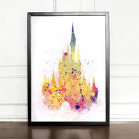 Cinderella Castle, Princess Castle, Disney Castle, Blue, watercolor illustration, giclee art print, Disney inspired