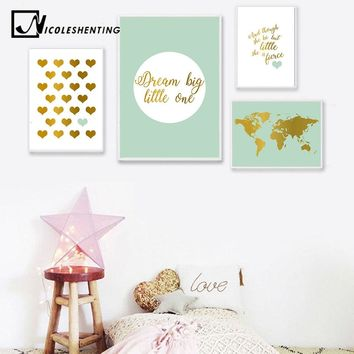 Baby Nursery Decor Wall Art Canvas Posters and Prints Heart Shape World Map Painting Nordic Kids Room Decoration Picture