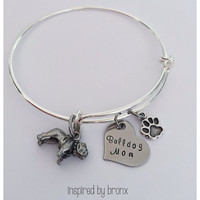 Adjustable charm bracelet, bulldog mom, I love my bulldog