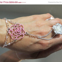 "CHRISTMAS SALE Pink Rose ""Slave Bracelet"" Ring. Sterling Silver Chain, jump rings, clasp and ring. Adjustable Filigree Silver Flower Ring."