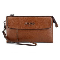 JEEP BULUO Men Mobile Phone Bag Zipper Handbag Weaving Light Brown