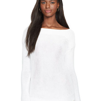 Lauren Ralph Lauren Petite Boatneck Cotton Sweater
