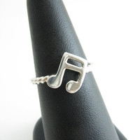 Music Note Ring Double Eighth Note Jewelry Sterling Silver Music Ring Size 7 Music Note Ring Musical Jewelry Gifts For Music Lover