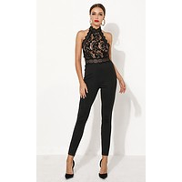 In Formation Black Sheer Mesh Lace Sleeveless Halter Cut Out Back Bodycon Bandage Jumpsuit