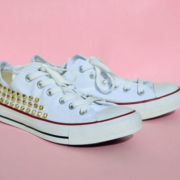 LowTop White Studded Converse by FatliperGirl on Etsy