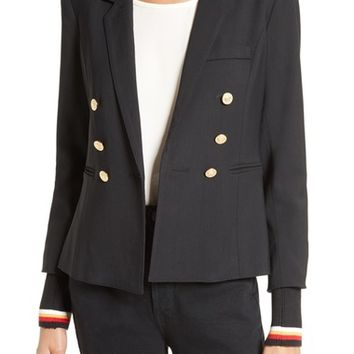 Smythe College Double Breasted Blazer with Detachable Knit Cuffs | Nordstrom