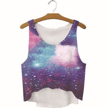 summer womens galaxy printed slim show hilum tank top sports vest gift 39  number 1