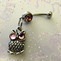 SALE--Belly Ring,Mini Owl with Crystal Pink Eyes Belly Button Navel Ring, Belly button Jewelry for her
