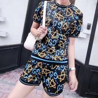 DCCKH3L Gucci' Women Casual Fashion Letter Star Print Short Sleeve Shorts Set Two-Piece Sportswear