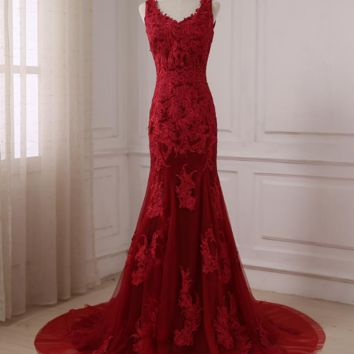 Sexy Red Mermaid Evening Dress V-neck Sleeveless Lace Applique Prom Party Dresses