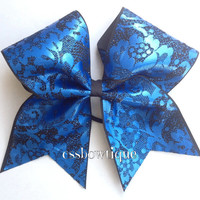Metallic Blue Lace Cheer Bow