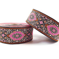 Hot Pink Orange Turkish Carpet Motif Woven Embroidered Jacquard Trim Ribbon - 1 Meter or 3.3 Feet or 1.09 Yards