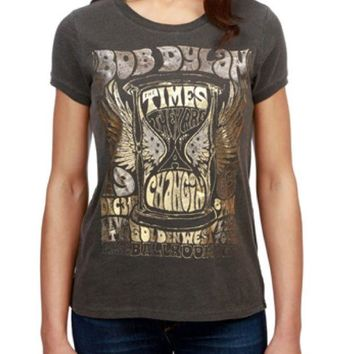 LMFYW3 Lucky Brand Bob Dylan Metallic Tee Black Mountain