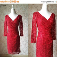 Fashion Red Dress Short Red dress Long Sleeve Lace dress Formal, Bridesmaid Dress Engagement Dress, Dress for Women, Plus Size Wedding(T581)