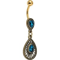 Navy Blue Gem Gold PVD Dewdrop Deco Dangle Belly Ring