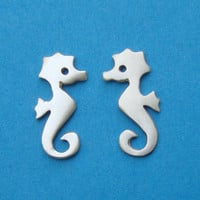 Seahorse Stud Earrings in sterling silver Kids Teen jewelry gift girl cute charm necklace mom  for her spring Halloween