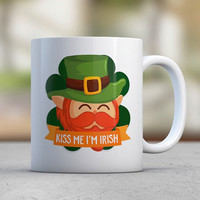 Kiss Me I'm Irish Funny Mugs Coffee Mugs St Patricks Day Mug Celebration Luck Shamrock Four Leaf Clover Leprechaun Gift