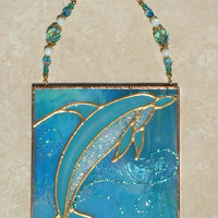 Dolphin Decor Stained Glass Panel Dolphin Suncatcher Ocean Seaside Beach Theme Decor Ocean Wall Art Glass Ornament Wall Hanging Dolphin Gift