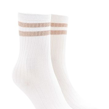 Metallic Striped Crew Socks